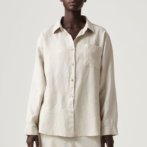 100% Linen Shirt in Dove Grey