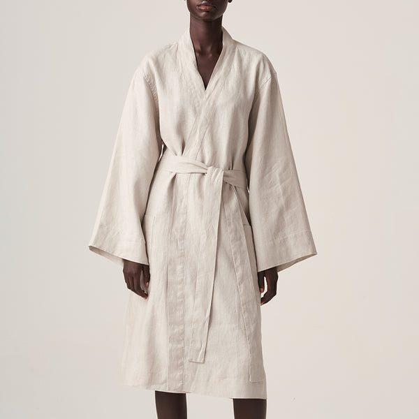 100% Linen Robe in Dove Grey