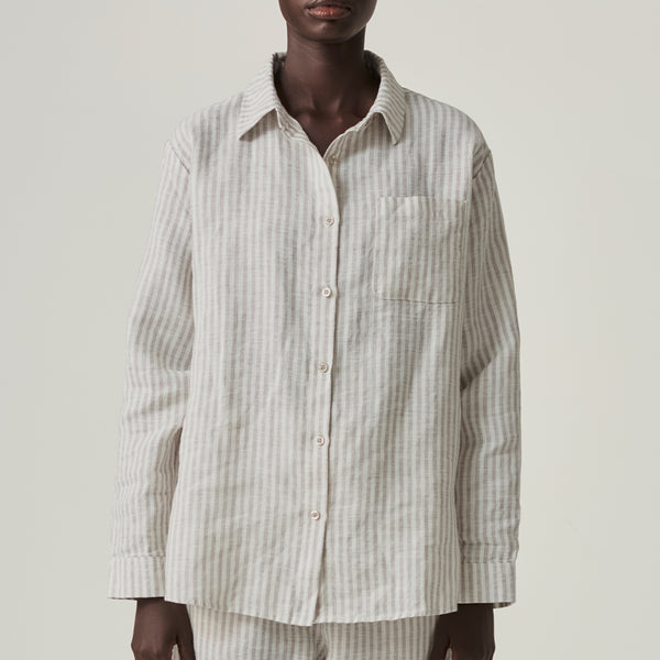 100% Linen Shirt in Grey & White Stripe