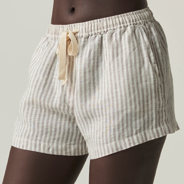 100% Linen Shorts in Grey & White Stripe