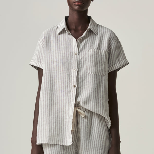 100% Linen Short Sleeve Shirt in Grey & White Stripe