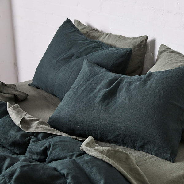 Linen Duvet Cover in Pine