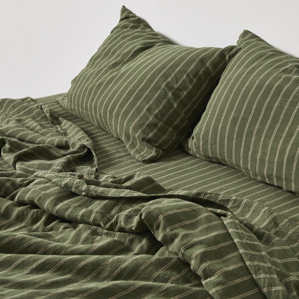 100% Linen Duvet Cover in Olive & Peach stripe