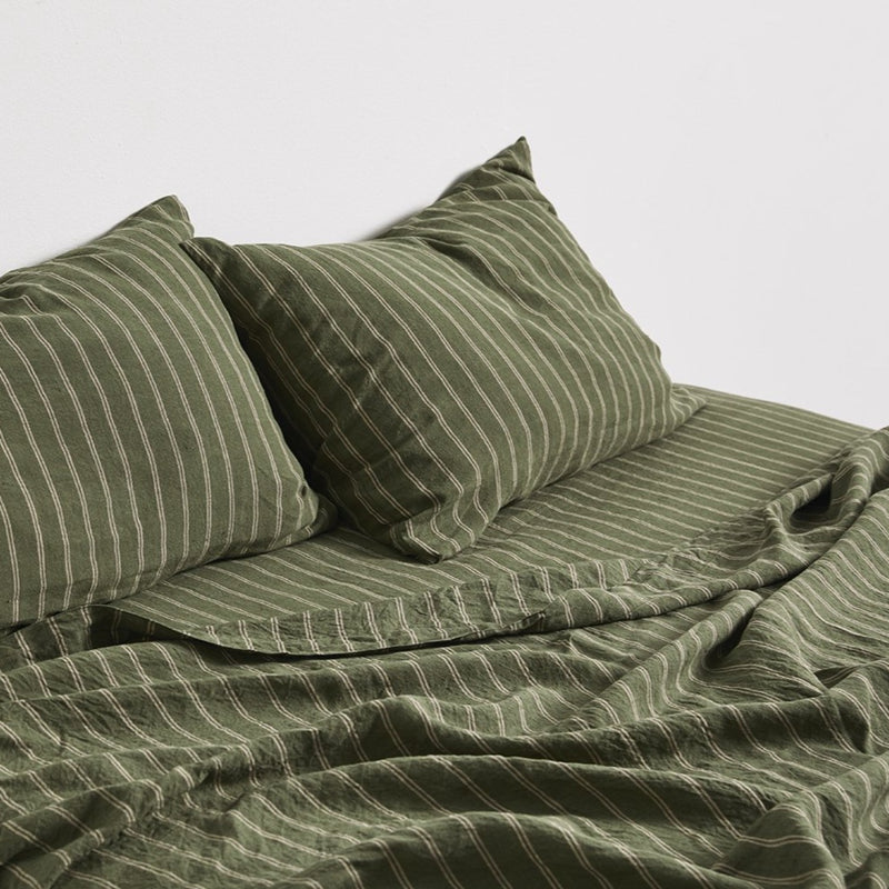 100% Linen Flat Sheet in Olive & Peach stripe [Pre-order]