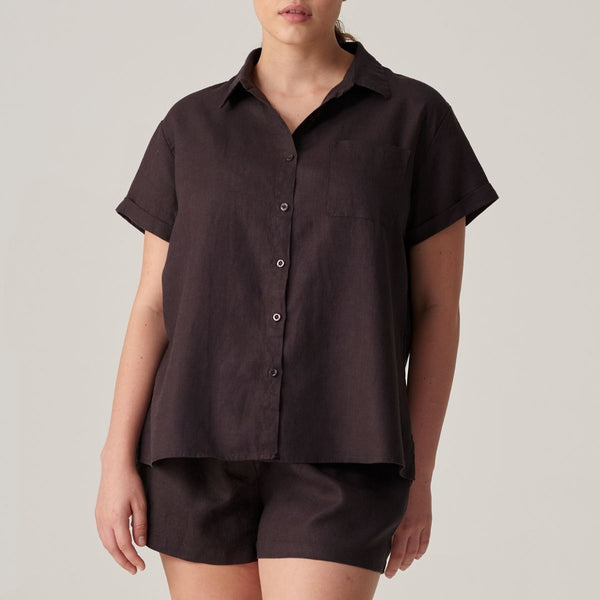 100% Linen Short Sleeve Shirt in Kohl
