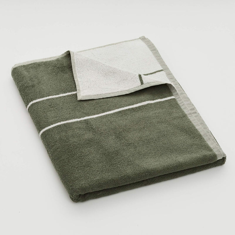 100% Organic Cotton Bath Towels in Khaki Stripe