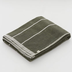 100% Organic Cotton Beach Towel in Khaki Stripe