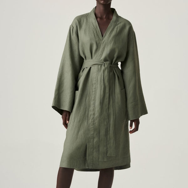 100% Linen Robe in Khaki