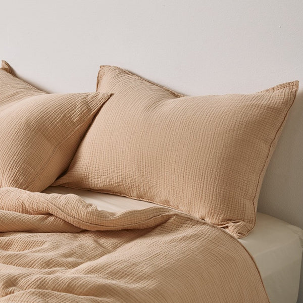 100% Organic Cotton Gauze Pillowslip Set in Almond