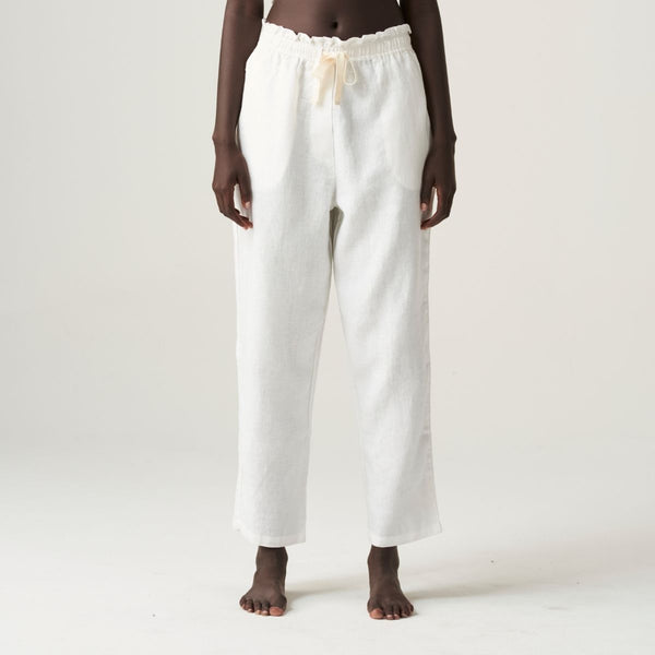 100% Linen Pants in White