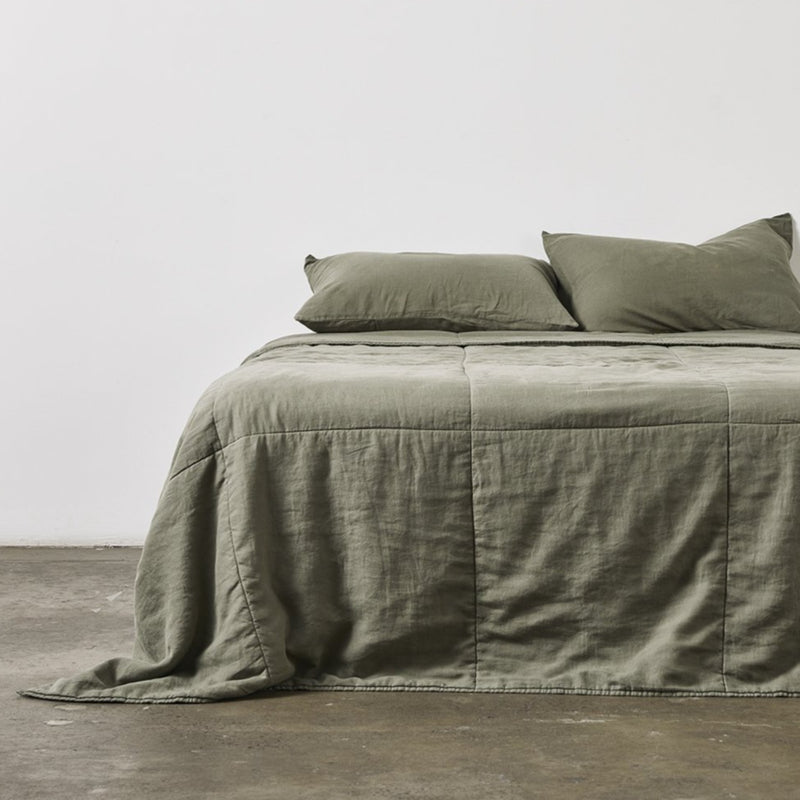 100% Linen Quilted Bedcover in Khaki