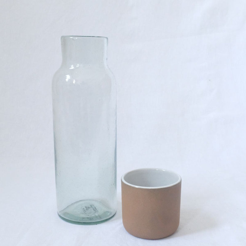 Lagos Del Mundo Glass Carafe with Ceramic Clay Cup