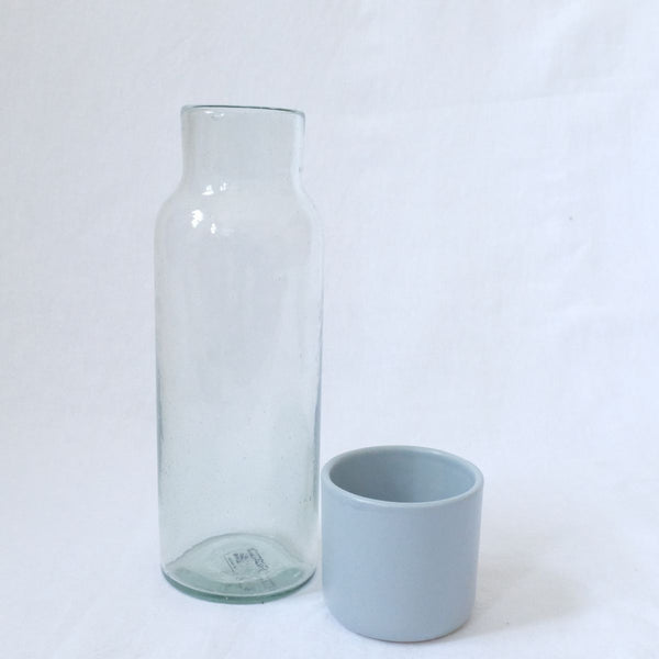 Lagos Del Mundo Glass Carafe with Ceramic Blue Cup