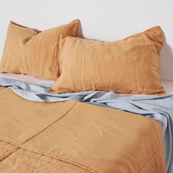 100% Linen Quilted Bedcover in Tan