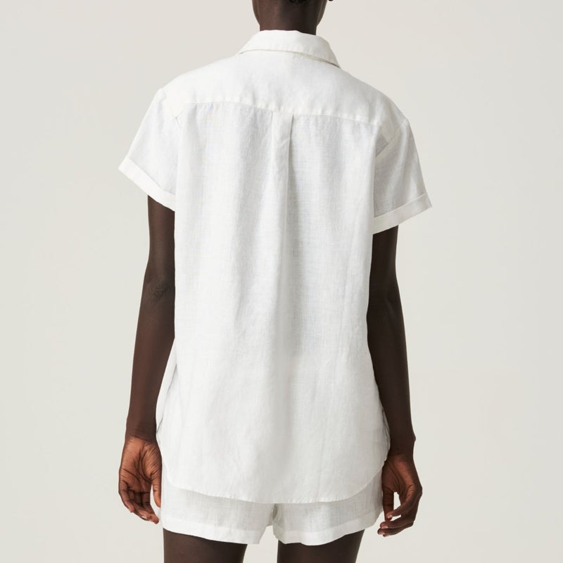 100% Linen Short Sleeve Shirt in White