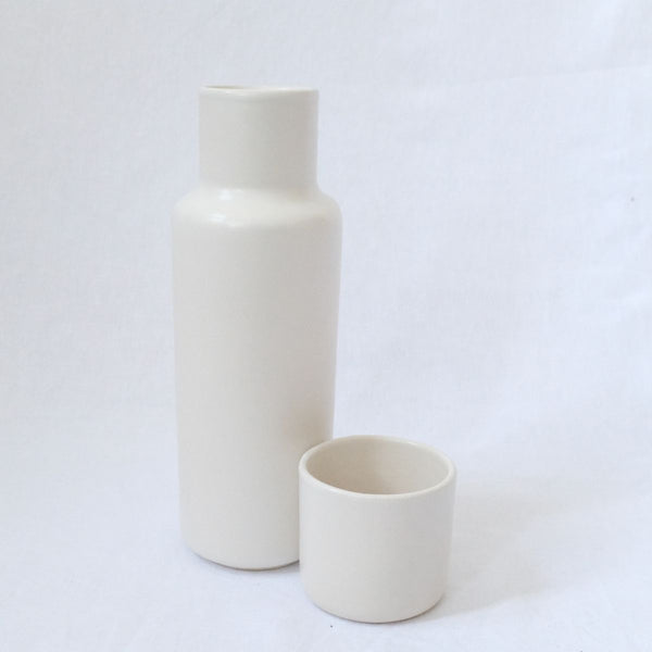 Lagos Del Mundo White Carafe with Cup