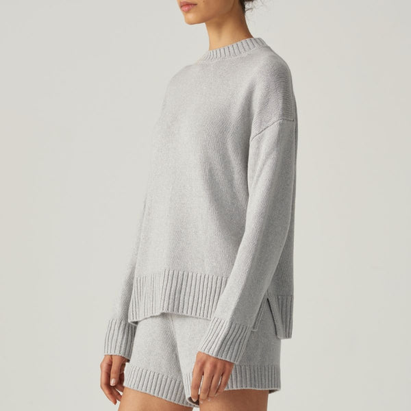 Cashmere, Silk & Linen Sweater in Light Grey