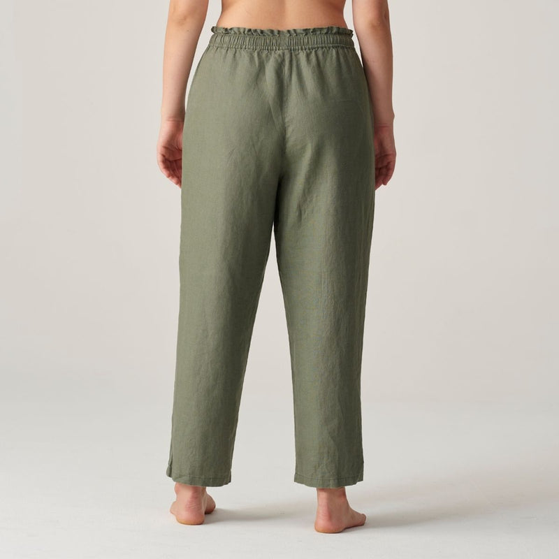 100% Linen Pants in Khaki