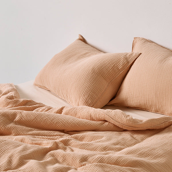 100% Organic Cotton Gauze Duvet Cover in Almond