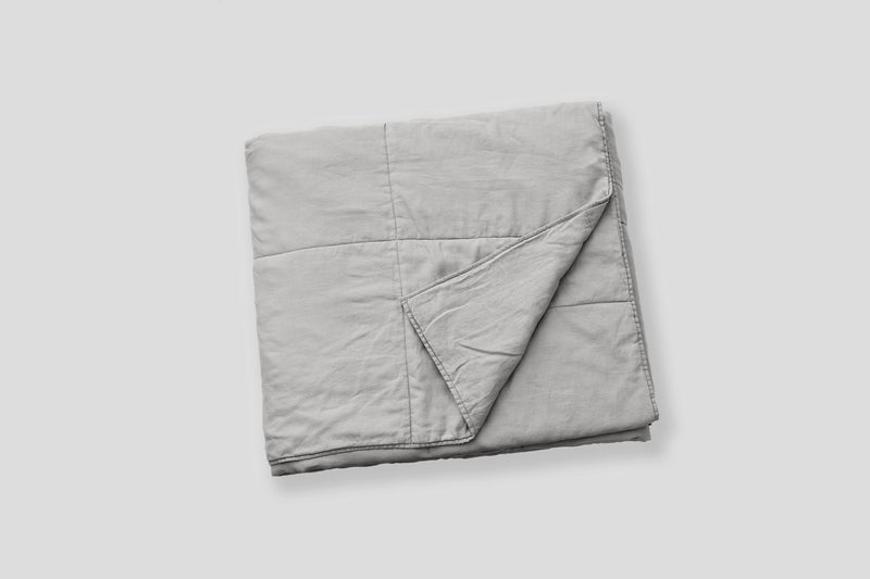 100% Linen Quilted Bedcover in Cool Grey