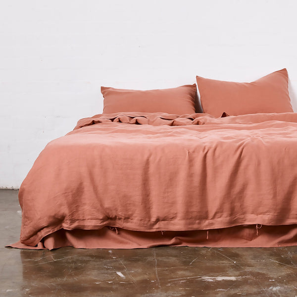 100% Linen Duvet Cover in Rosewood