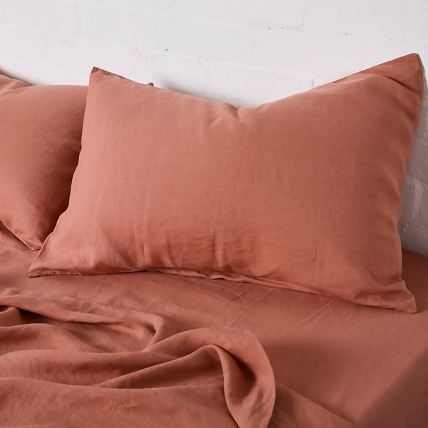 100% Linen Flat Sheet in Rosewood