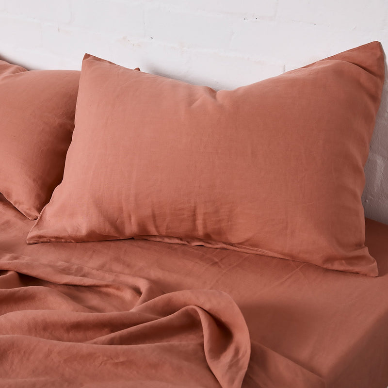 100% Linen Pillowslip set (of two) in Rosewood