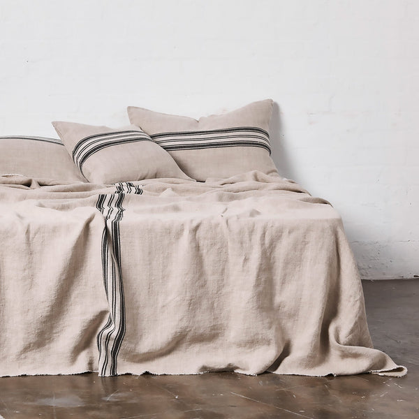Heavy Linen Bed Cover with Stripes in Natural