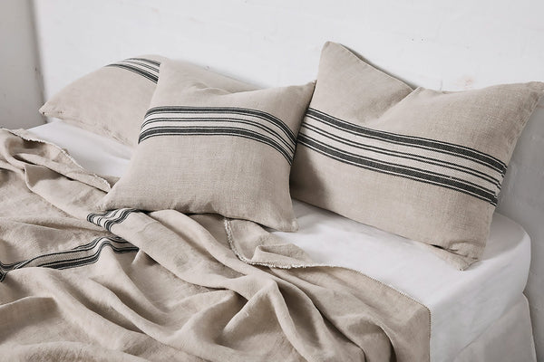 Heavy linen cushion cover with stripes in natural
