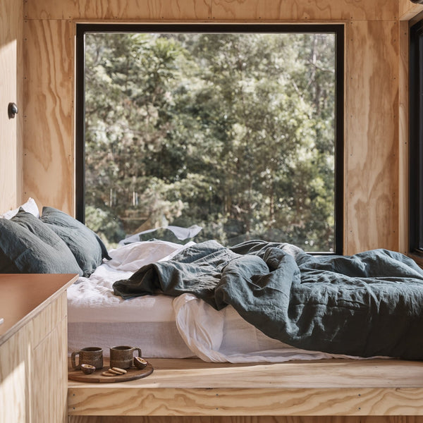 IN BED x Unyoked 100% Linen Duvet Set in Pine