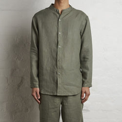 100 Linen Shirt In Khaki Mens In Bed Store