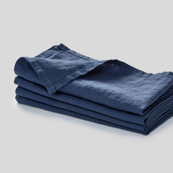 100% Linen Napkin Set in French Blue