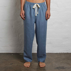 100% Linen Pants in Lake - Mens