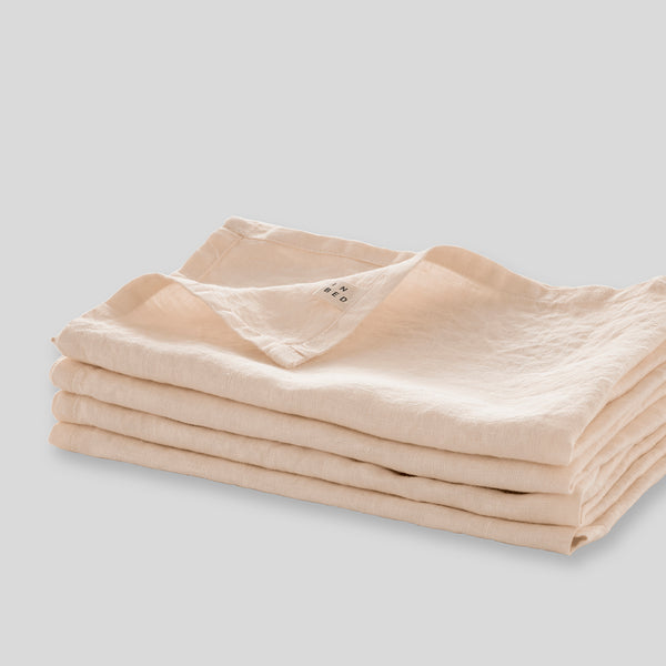 100% Linen Napkin Set in Peach