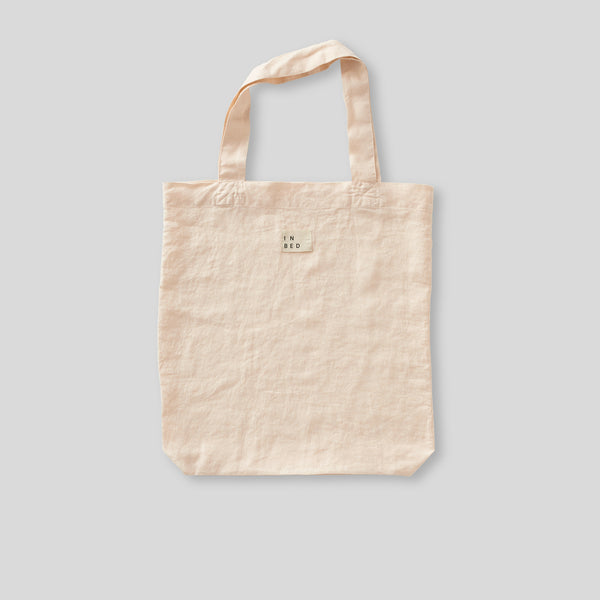 100% Linen Market Bag in Peach