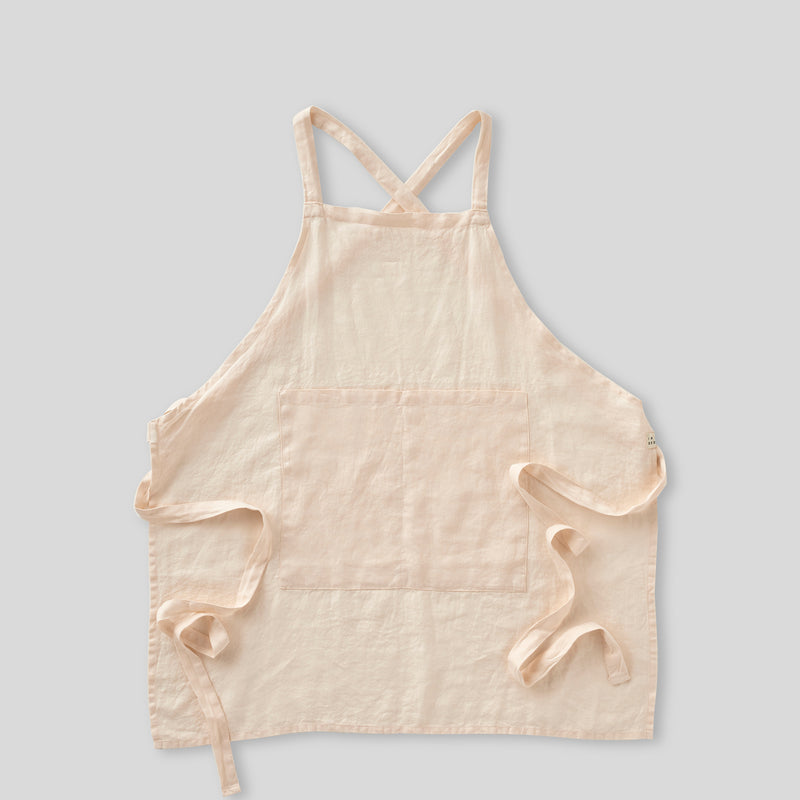 100% Linen Apron - Full Length in Peach