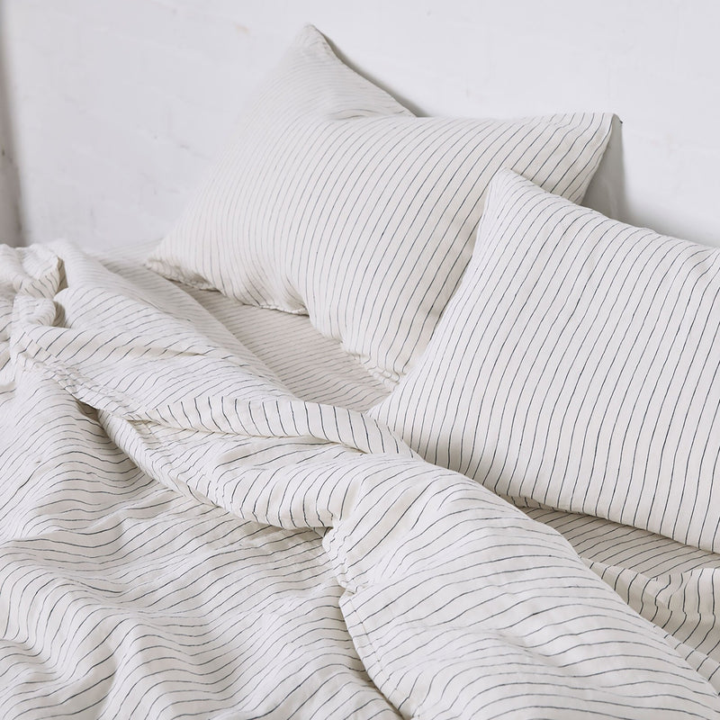 100% Linen Duvet Cover in Pinstripe Navy
