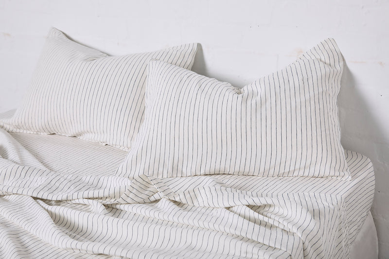 100% Linen Pillowslip set (of two) in Pinstripe Navy