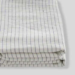 100% Linen Fitted Sheet in Pinstripe Navy