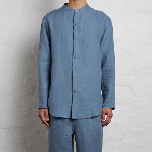 100% Linen Shirt in Lake - Mens
