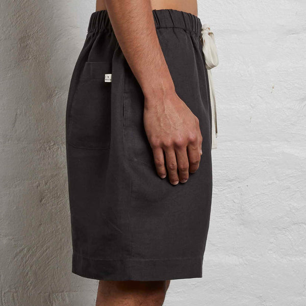 100% Linen Shorts in Kohl - Mens