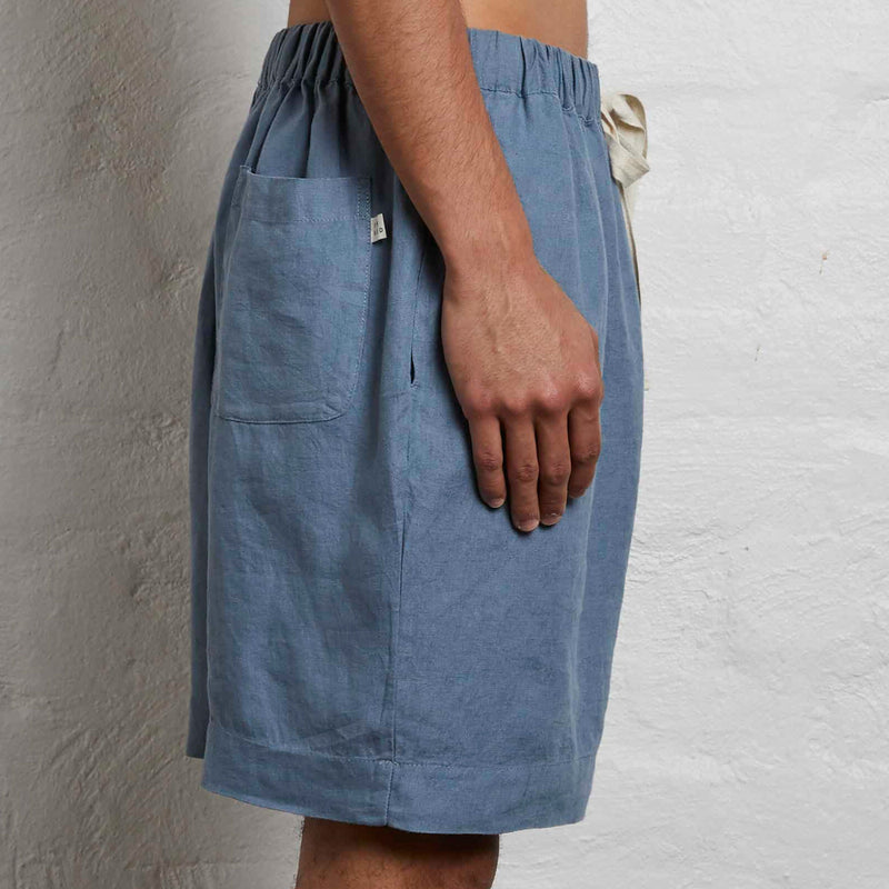 100% Linen Shorts in Lake - Mens