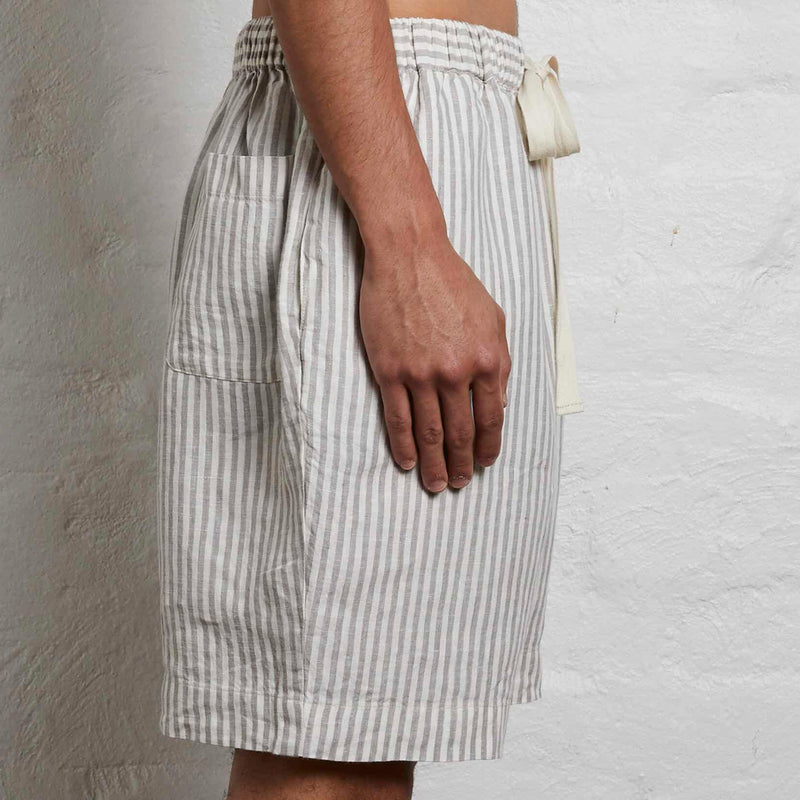 100% Linen Shorts in Grey & White Stripe - Mens