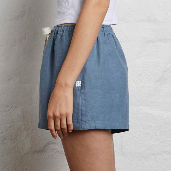 100% Linen Shorts in Lake