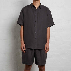 100% Linen Short Sleeve Shirt in Kohl - Mens