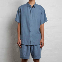 100% Linen Short Sleeve Shirt in Lake - Mens