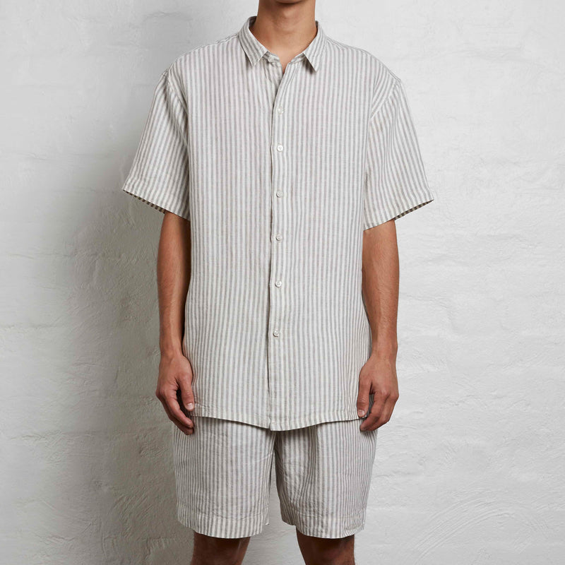 100% Linen Short Sleeve Shirt in Grey & White Stripe - Mens
