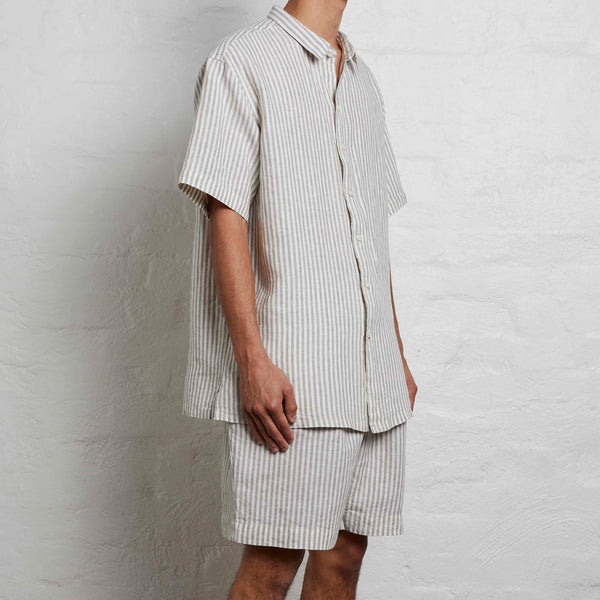 100% Linen Short Sleeve Shirt in Stripes - Mens