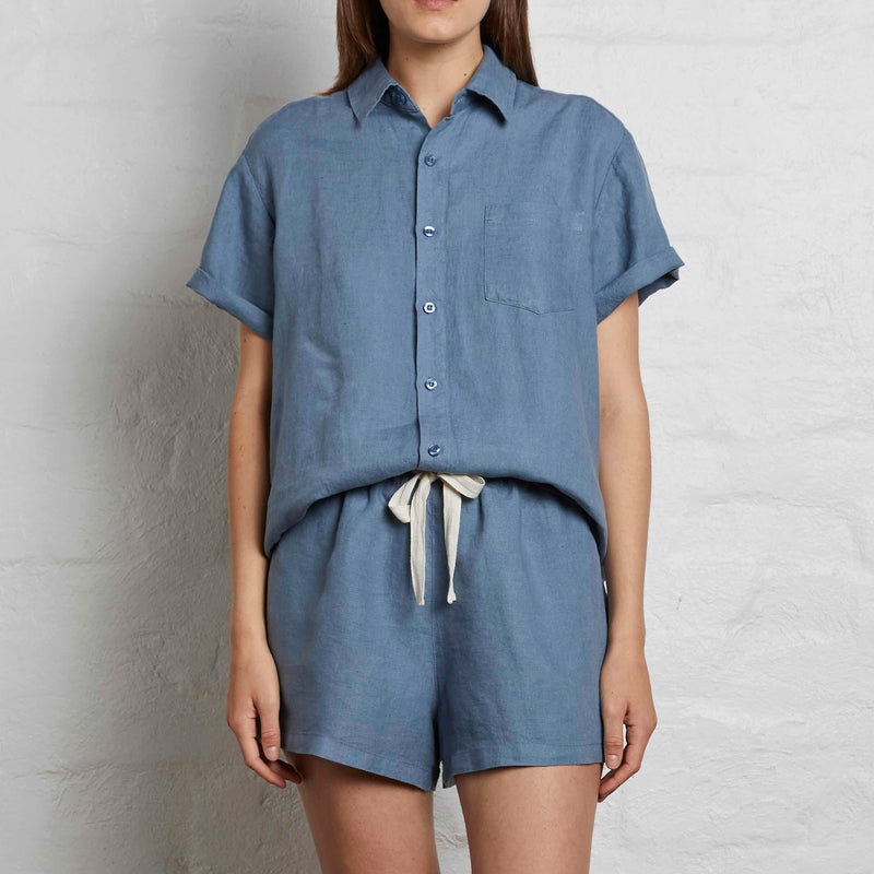 100% Linen Short Sleeve Shirt in Lake