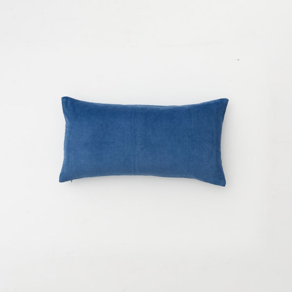 Organic cotton corduroy cushion in Blue - rectangle